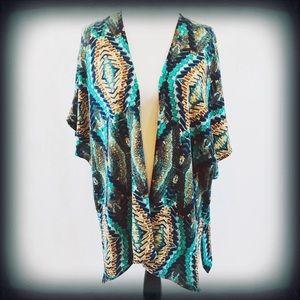 Charming Charlie Large Boho Aztec Kimono EUC